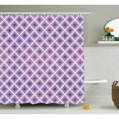 Leslie Purple Retro Innovative Abstract Square Pattern Modern Home Decor Effect Graphic Shower Curtain Size: 69 W x 70 H