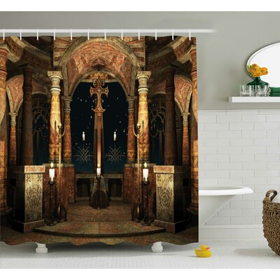 Mystic Ancient Hall Pillars and Christian Cross Dome Shrine Church Shower Curtain Size: 69 W x 70 H