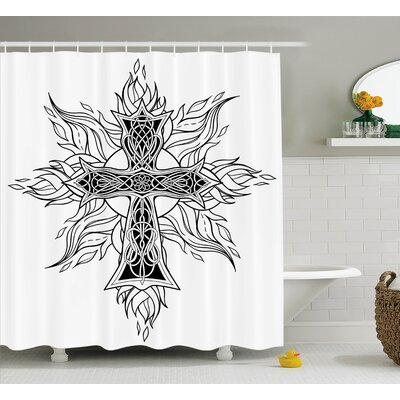 Joplin Gothic Image Cross Antique With Flames of Fire Simplistic Traditional Pattern Shower Curtain Size: 69 W x 75 H