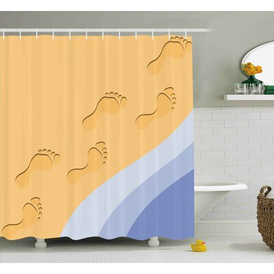 Gale Modern Footprints Sand Realistic Print Near Ocean Waves Digital Image Shower Curtain Size: 69 W x 70 H