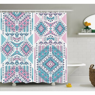 Sheri Tribal Geometric Bohemian Indian Aztec Design Vintage Stylized Pastel Colors Shower Curtain Size: 69 W x 70 H