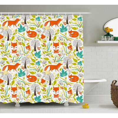 Ervin Cartoon Wild Fox Wolf With Leaves Flowers Leafless Trees Art Decor Print Shower Curtain Size: 69 W x 70 H