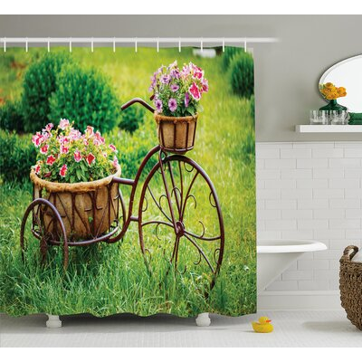 Carolin Vintage Antique Rusty Bike With a Basket Flowers Shower Curtain Size: 69 W x 70 H