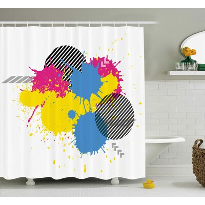 Reyna Vector Colorful Splatter Grunge Ink Splatter Illustration Decorative Circles Art Shower Curtain Size: 69 W x 70 H