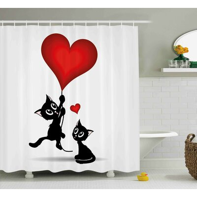 Valentines Day Baby Cats Holding Heart Shaped Baloons Romance Love Themed Image Shower Curtain Size: 69 W x 70 H