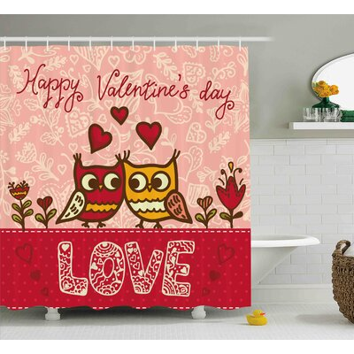 Valentines Day Owls Shower Curtain Size: 69