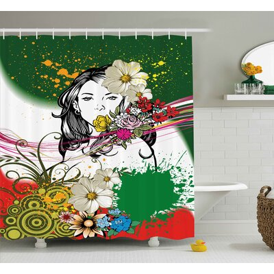 Thea Woman Figure Behind Tropical Flowers Spirals Hippie Boho Style Illustration Shower Curtain Size: 69 W x 70 H