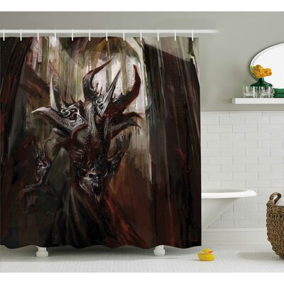 Fantasy World Armored Evil Monster Cathedral Apocalyptic Imaginary Knight Scary Print Shower Curtain Size: 69 W x 70 H