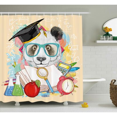 Fannie Animal Panda Goes to School Humor Education Hipster With Glasses Books Pen Graphic Art Shower Curtain Size: 69 W x 70 H