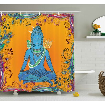 Ouarzazate Yoga Bohem Ethnic Paisley and Peacock Feather Patterns Indian Goddess and Cobra Mandala Shower Curtain Size: 69 W x 70 H