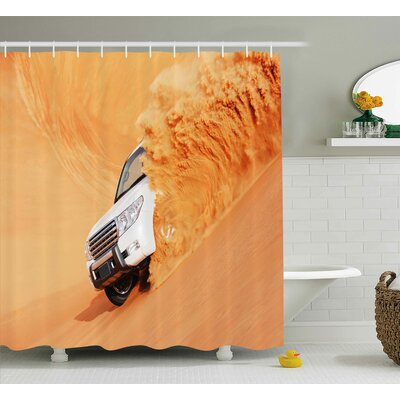 Marci Desert Suv Truck Pick Up Big Car With Huge Wheels Driving Through The Sand Hills Shower Curtain Size: 69 W x 70 H
