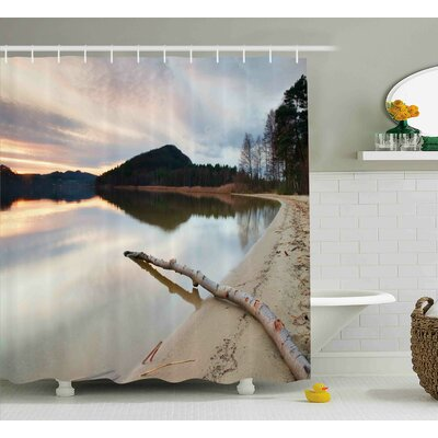Adrian Driftwood Landscape of Lake Shore With Dead Tree Trunk Shower Curtain Size: 69 W x 70 H