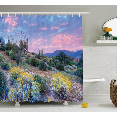 Autumn Cactus Sunset Shower Curtain Size: 69 W x 70 H