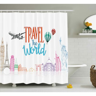 Daniel Quote Travel The World Lettering With Around World Landmarks Balloons Artwork Image Shower Curtain Size: 69 W x 70 H