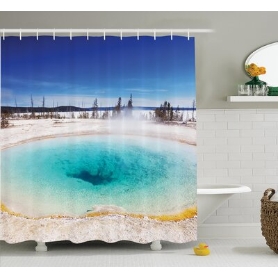 Wilcox Volcanic Hot Spring Shower Curtain Size: 69 W x 70 H