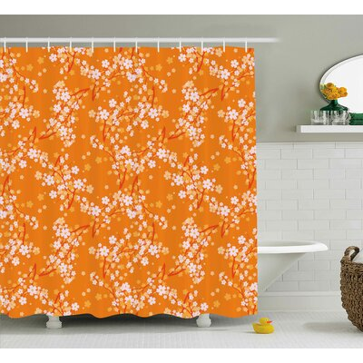 Bertie Vivid Blooming Tree Branches Spring Flower Petals Happy Essence Beauty Pattern Shower Curtain Size: 69 W x 70 H