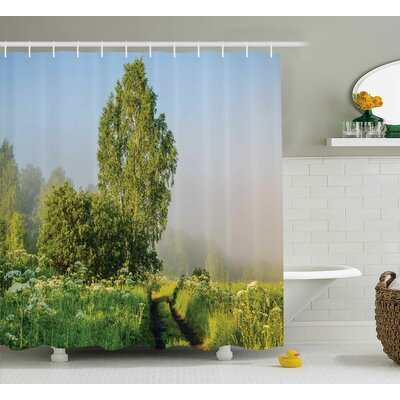 Mcdonald Nature Beautiful Serenity Trees Track Path Garden Leaves and Grass Sunny Skies Photography Shower Curtain Size: 69 W x 70 H