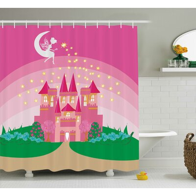 Rhonda Girly Magic Fantasy Fairy Tale Princess Castle Shower Curtain Size: 69 W x 75 H
