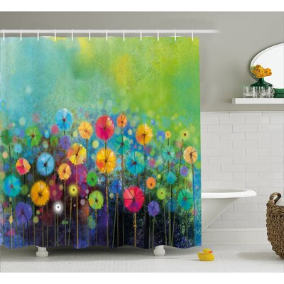 Gladys Dandelions Featured Garden Made With Brushstrokes Toned Landscape Shower Curtain Size: 69 W x 75 H