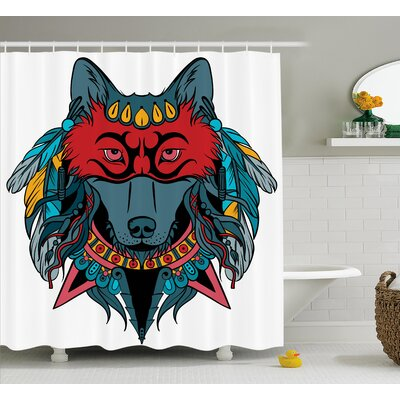 Erika Tribal Indian Warrior Wolf Portrait With Mask Feathers Native American Animal Art Shower Curtain Size: 69 W x 70 H