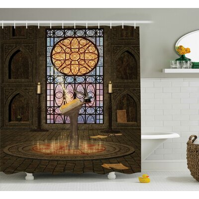 Lectern on Pentagram Medieval Architecture Candlelight Dark Spell Altar Shower Curtain Size: 69