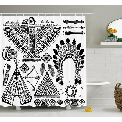 Glenda Tribal Native American Feather Head Band Indian Teepee Tent Bow and Arrow Print Shower Curtain Size: 69 W x 70 H