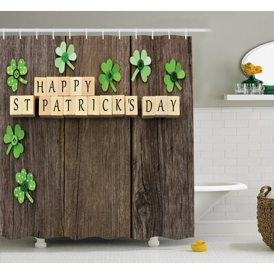 St. PatrickS Day Greetings With Wooden Blocks and Paper Shamrocks on Rustic Planks Image Shower Curtain Size: 69 W x 70 H