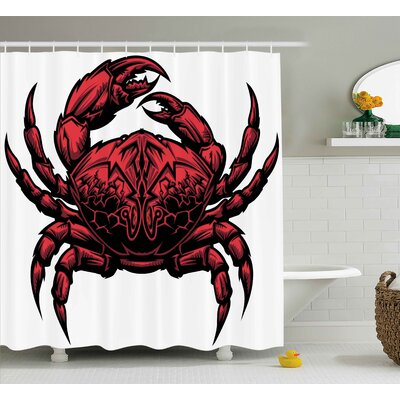 Buckley Crabs Astrology Theme Illustration of a Crab Representing Cancer Zodiac Sign Print Shower Curtain Size: 69 W x 75 H