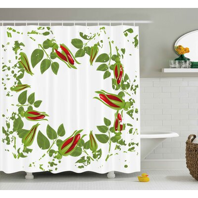 Emmaleigh Nature Grunge Design Christmas Theme Like Leaves Red Roses Abstract Image Artwork Shower Curtain Size: 69 W x 70 H