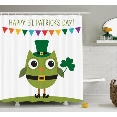 St. PatrickS Day Owl With Leprechaun Costume Greeting Design For Party Shamrock Shower Curtain Size: 69 W x 70 H