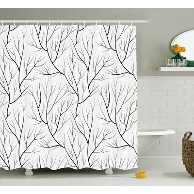 Corinne Winter Tree Leaf Nature Theme Leafless Delicate Branches Pattern Japanese Style Shower Curtain Size: 69 W x 75 H