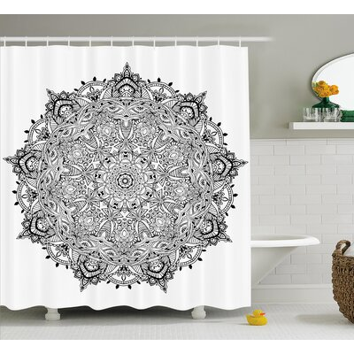 Ryleigh Mandala Lace Macro Round Indian Motif With Mix Paisley Leaf Elements Kitsch Image Shower Curtain Size: 69 W x 75 H