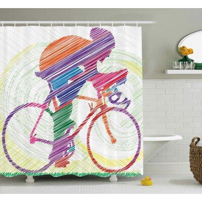 Jill Modern Sketch Hand Drawn Image of a Cycling Man on a Bike With Sun Grass Artwork Shower Curtain Size: 69 W x 70 H