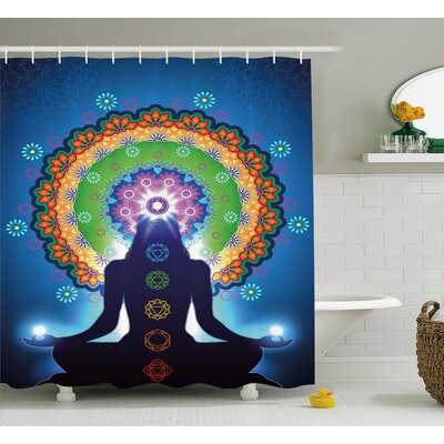Taryn Chakra Silhouette of Woman Doing Yoga With Vertical Blending Effects and Mesh Peace Motif Shower Curtain Size: 69 W x 70 H