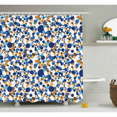 Theia Confetti Abstract Circle Round Shower Curtain Size: 69 W x 70 H