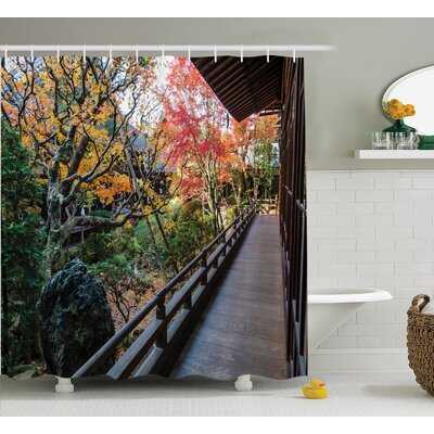 Bray Japanese Forest Landscape From a Wooden Balcony Shower Curtain Size: 69 W x 84 H
