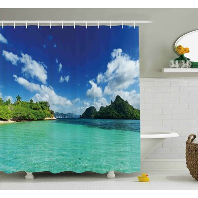 Annmarie Landscape Summer Island Botanic Tropical View With Sea Mountain Tree Forest Photo Shower Curtain Size: 69 W x 70 H