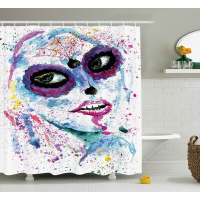Girly Grunge Halloween Lady With Sugar Skull Make Up Creepy Dead Face Gothic Print Shower Curtain Size: 69 W x 75 H