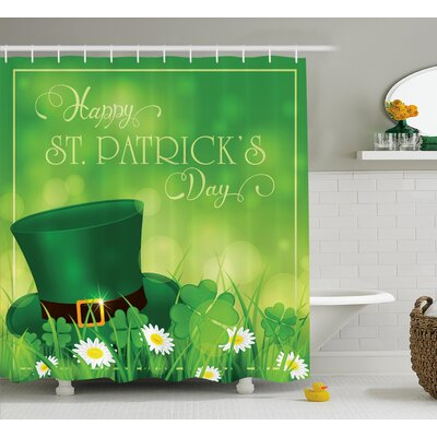 St. PatrickS Day Happy Greetings For Cultural Day Religion Shamrock Daisy and Leprechaun Hat Shower Curtain Size: 69 W x 70 H