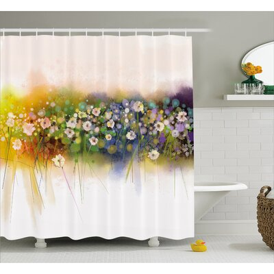 Gayla Vogue Display Wisteria Violets Wreath Fragrant Plants Herbs Artsy Shower Curtain Size: 69 W x 75 H