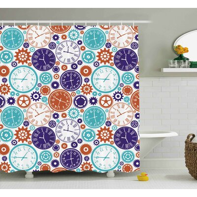 Dena Vintage Clock Mechanism Roman Numbers Hour and Minute Hand Pattern Shower Curtain Size: 69 W x 75 H