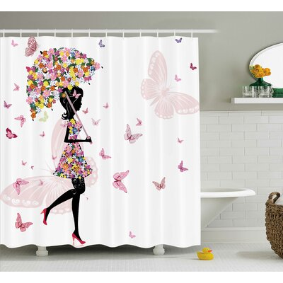 Pauline Girl With Floral Umbrella and Dress Walking With Butterflies Artsy Print Shower Curtain Size: 69 W x 75 H