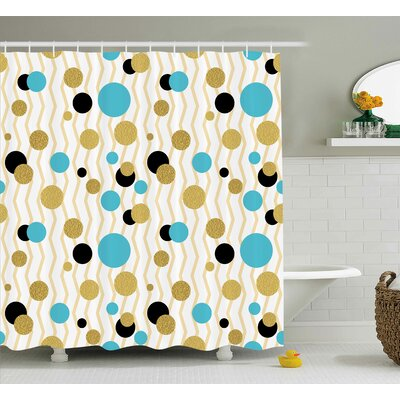 Beckette Abstract Trippy Geometric Circles Dotted Gold Rounds on Zig Zag Lined Background Print Shower Curtain Size: 69 W x 70 H