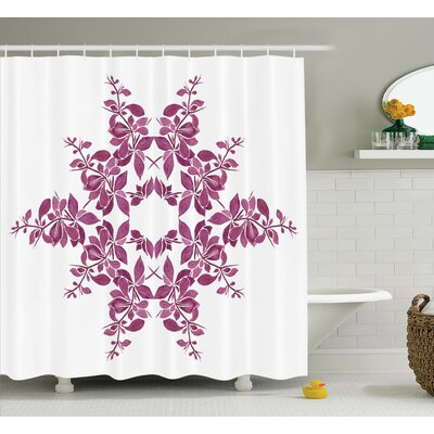 Jamie Purple Autumn Vine Bridal Flower Bouquet Vintage Leaves Laurel Wreath Art Print Shower Curtain Size: 69 W x 70 H