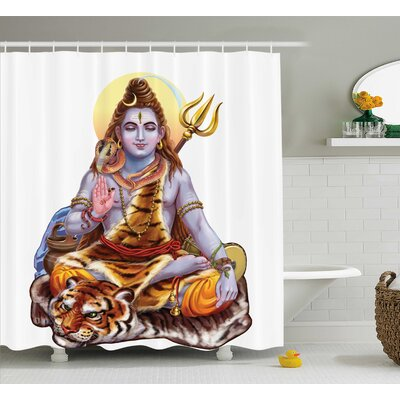 Jaouhara Yoga Authentic Indian Deity Meditating on Eastern Tiger Sacred Cosmos Spirit Theme Print Shower Curtain Size: 69 W x 70 H
