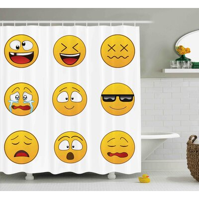 Winnie Emoji Happy Smiley Angry Furious Sad Face Expressions With Glasses Moods Cartoon Like Print Shower Curtain Size: 69 W x 70 H