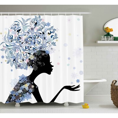 Kristen Girls Illustration of a Flower Haired Girl and Snowflakes Decorative Pattern Shower Curtain Size: 69 W x 70 H