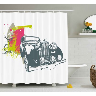 Tonya Vintage Pop Art Retro Custom Classic Car With Grunge Effects Illustration Shower Curtain Size: 69 W x 70 H