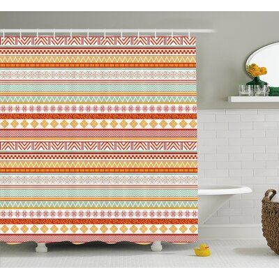 Lynda Tribal Striped Vintage Native American Pattern With Geometric Floral Shapes Shower Curtain Size: 69 W x 70 H