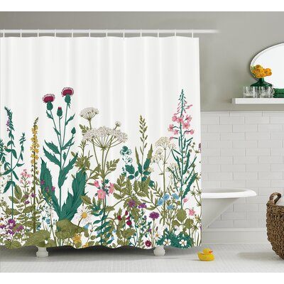 Eastlake Flowers Leaves Shower Curtain Size: 69 W x 70 H